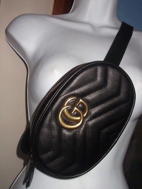 Womens GG Marmont Bumbag Waist Bag Handbag Designer Celebrity Inspired  Black Gold UK b52632e553e40