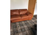 Tan coloured leather Chaise-lounge 3 seater sofa & matching two seater sofa