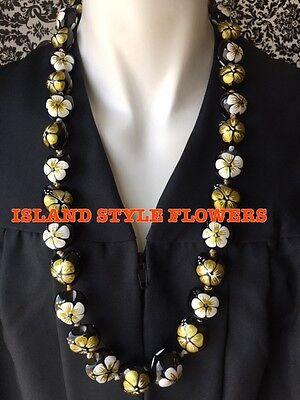 Hawaii Wedding GOLD WHITE Hibiscus Nut Lei Graduation Luau Hula Necklace