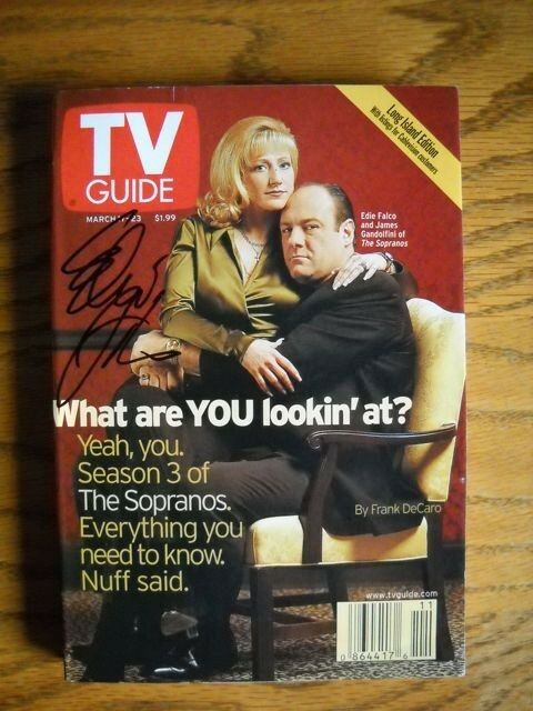 Edie Falco Autographed (only) Signed TV Guide The Sopranos James Gandolfini