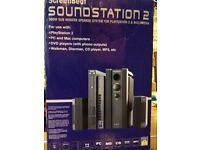 LOGIC 3 SOUNDSTATION2 AMP AND SPEAKERS FOR PS2 - NEW AND BOXED