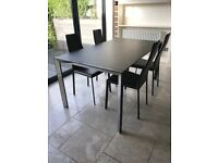 Cattelan Italia Dining Table & 4 Leather Dining Chairs