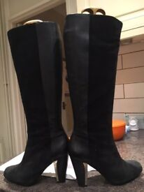 Clarks Suede & Leather Knee High Boots worn once as new heel has gold inset cost £99