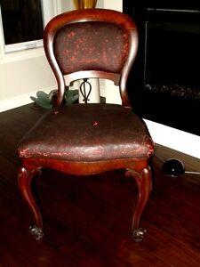 1800s BALLOON BACK Mahogany CHAIR original leather STRAW HORSE Kitchener / Waterloo Kitchener Area image 2
