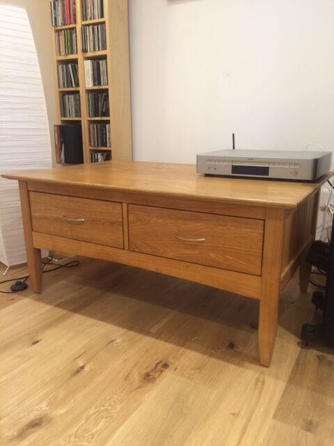 Laura ashley light oak coffee table with 4 drawers in for Coffee tables laura ashley
