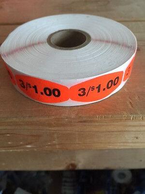 "1.25"" x .625"" 3/$1.00 MERCHANDISE LABELS 1000 PER ROLL STICKER FL RED NEW"