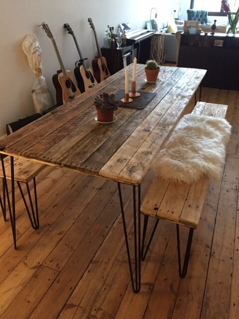 Reclaimed Wood Dining Table And X2 Benches With Hairpin
