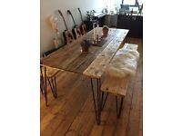Reclaimed Wood Dining Table and x2 Benches with hairpin legs. FREE LOCAL DELIVERY