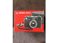 GAF Memo 35 ET Compact 35mm film Camera boxed with case & instructions 1974