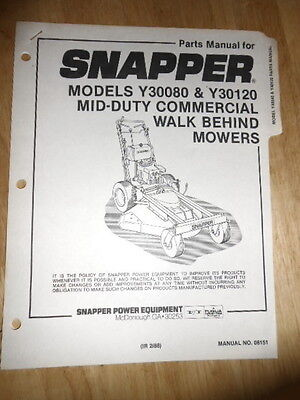 NOS Snapper Parts Manual Y30080 Y30120 Mid Duty Commercial Walk Behind (Commercial Mower Parts)