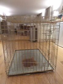 """2 x Ellie-Bo XL 2 door folding dog crate 42"""", non-chew metal tray; (used and in good condition)"""