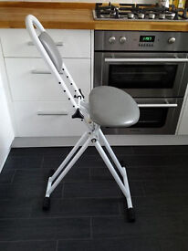 Perching stool fold away chair for ironing cooking etc