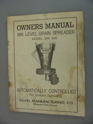 David Dw-918 Bin Level Grain Spreader Owners Manual