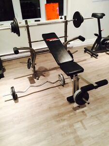 Weight Bench, Attachments and Weights