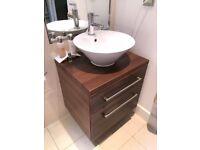 2 Drawer Wall Hung Dark Wood Bathroom Vanity Unit