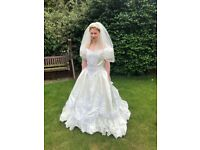 Wedding Dress (approx size 12) and accessories incl hoop (underskirt) 2 x head dresses & shoes