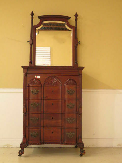 F23156EC: Antique Chippendale Style Block Front Mahogany Chest w. Mirror
