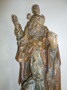 Large religious art oak carving of man and child 18th Cent Spain
