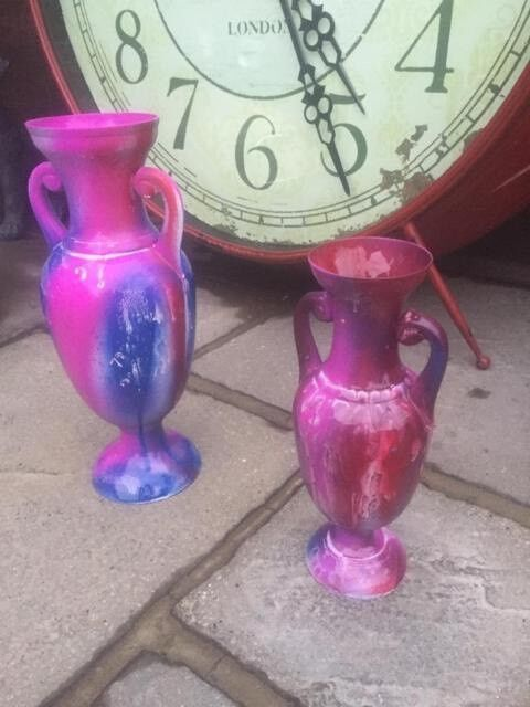 Beautifully Coloured Medium and Large Brass Vases - Solid Brass Fantasy Colours - Only £25