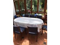 Dining Table and 7 Blue Chairs