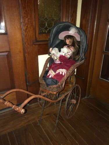 Antique Victorian Baby Doll Carriage Stroller Wicker NICE!