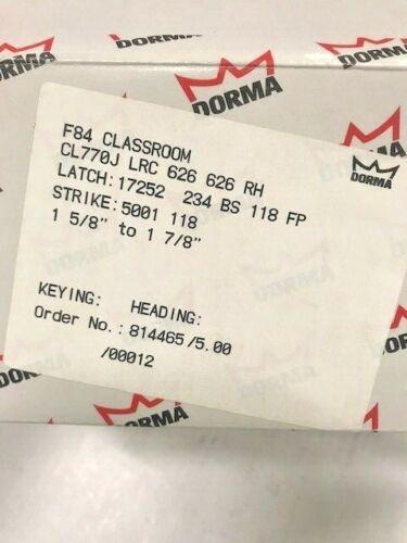 """DORMA DOOR CL770J LRC 626 Classroom Func Gr 2 2-3/4"""" ASA Less SFIC 6 or 7 L/CORE"""
