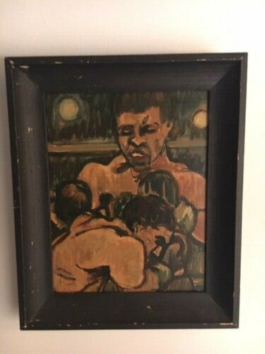 4 Arthur Smith Boxing Oil Paintings- Free shipping-
