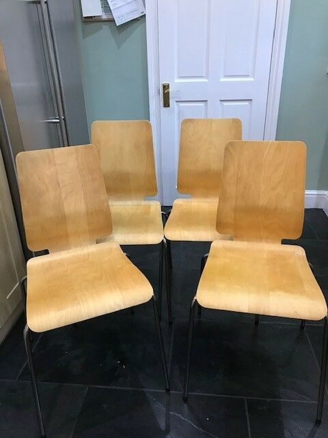 Set Of 4 IKEA Stackable Dining Kitchen Chairs Birch Ply With Chrome Legs