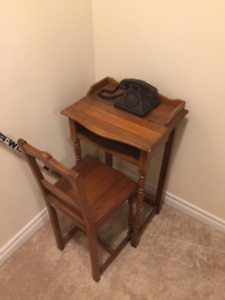 OLD FASHIONED PHONE TABLE AND CHAIR