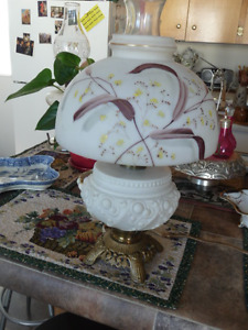 Lovely Large Electrified Antique Milk Glass Oil Lamp
