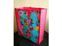 BRAND NEW - Large Vintage Pink Floral REUSABLE SHOPPING TOTE BAG - Grocery Craft College School Bag