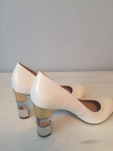 Retro White Pumps w Clear Heel
