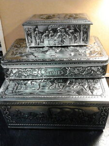 David Teniers Embossed Belgian Tin Boxes - Hinged