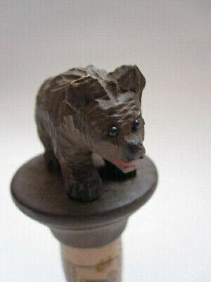 small vintage wooden carved Black Forest bear cork bottle stopper - glass eyes