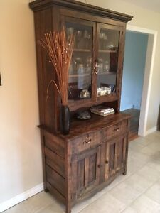 Antique Dark Wood Hutch with Glass Doors - very good condition