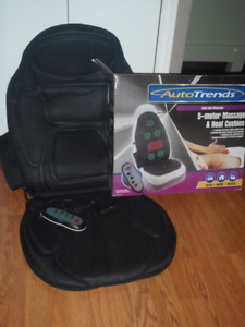 5-motor Massage and Heat Cushion for home, office, or car.