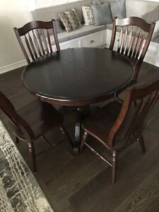 Round Birch Dining Room Table + 6 Comfortable Wood Chairs