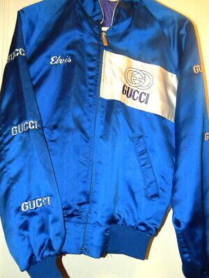 Vintage Blue Satin Sport Jacket Gucci Embroidered Elvis