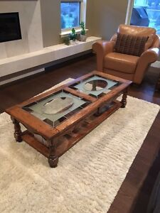 Coffee and end table, vintage, oak.