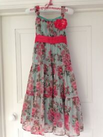 MONSOON girl's aqua and coral tiered maxi dress age 5-6, £8 (RRP £55)