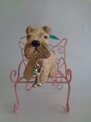 OOAK**WHEATEN TERRIER SITTING ON PINK METAL PATIO CHAIR WITH BUTTERFLY DESIGN***