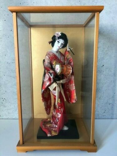 Japanese Antique Geisha Geiko Ningyo Doll 45cm Kimono Cute Face With Glass Case