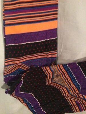 Blue And Grey Striped Leggings (LuLaRoe Tall And Curvy TC Stripes Triangles Hearts Purple Blue Gray NWT)
