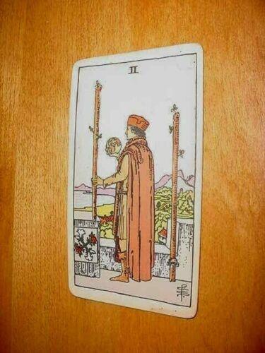 SINGLE VINTAGE TAROT CARD AS SHOWN MAN HOLDS GLOBE