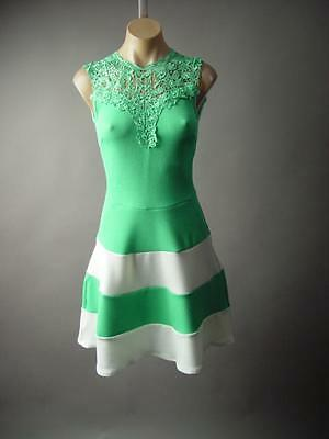Pastel Green White Stripe Fit And Flare Lace High Neck Party 184 mv Dress S M L