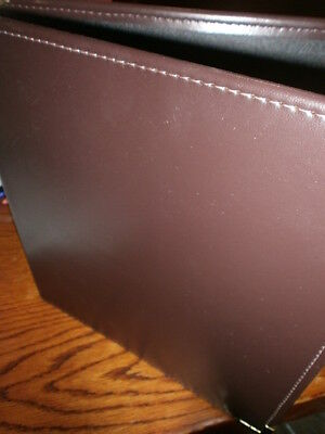 - 3- RING BINDER PORTFOLIO GOLD COLOR CORNERS BROWN TEXTURED COVER PAPER SLOTS