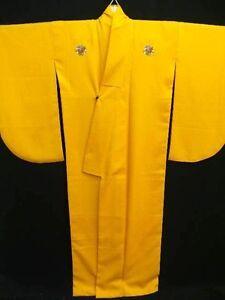 Yellow-034-Chirimen-ji-Hakama-Kimono-034-w-3-Embroidered-Flower-Crests-T460