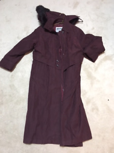 XS Long Winter Coat Burgundy w/hood