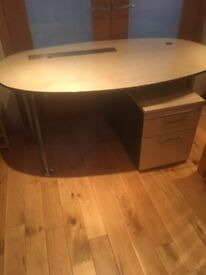 Office Desk With Drawers - Oval Shape Beech Effect Excellent Condition x 5