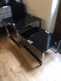 2 Occasional Tables Stackable Designer Smoked Glass and Chrome